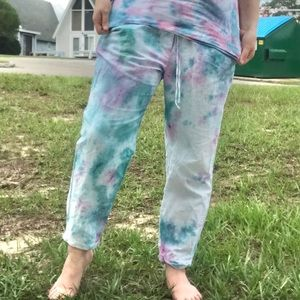 Jcrew drawstring custom tie dye lounge pants sz 12